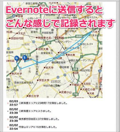 僕の来た道の記録をEvernoteに送信した様子-1