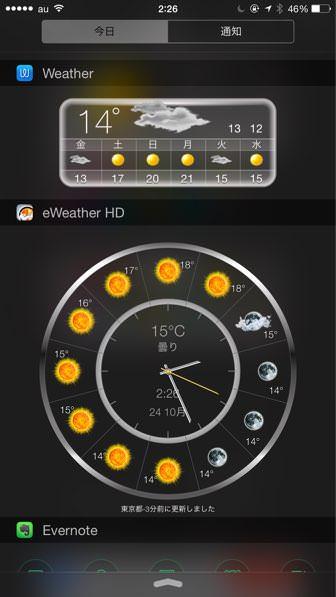 IPhoneが超便利になるオススメウィジェット01 eWeather HD