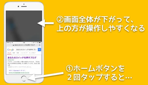 IPhone6で画面全体を下げる簡易アクセス機能をオフにする方法 1