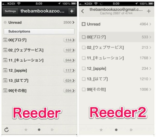ReederとReeder2の比較