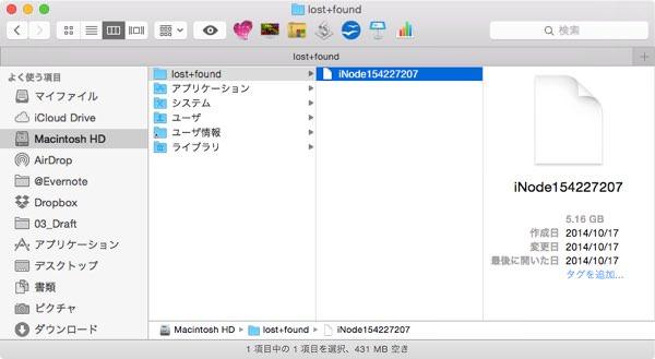 Macの容量を大きく占めるlost+foundファイルの正体と処理について 3