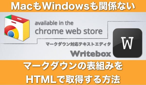 マークダウンで作成した表組みをHTMLで取得する方法 Chrome版 001