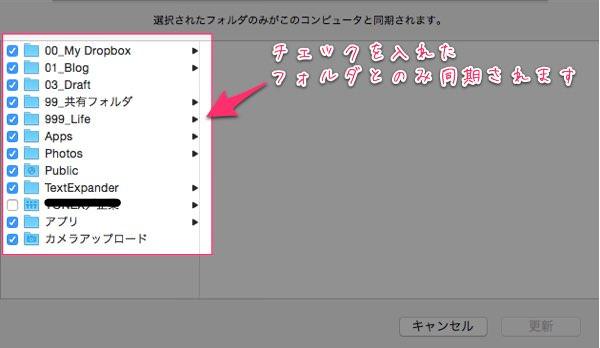 Mac版Dropboxで特定のフォルダとは同期をしない 同期を解除する方法 4